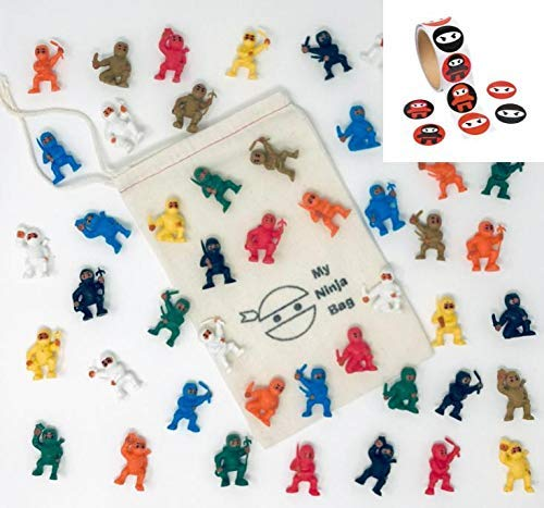 Bag of 50 Mini Karate Ninjas Plus 100 Stickers Warriors Fighters Figures Cup Cake Toppers Ninja Kung Fu Guys Martial Arts Men Lot Party Favors ()