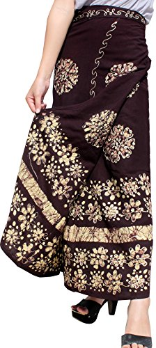 ahMuang Think Indian Rayon Wrap Skirt With Bold Stitched On Art, Medium, Black Brown (Stitched Womens Skirt)