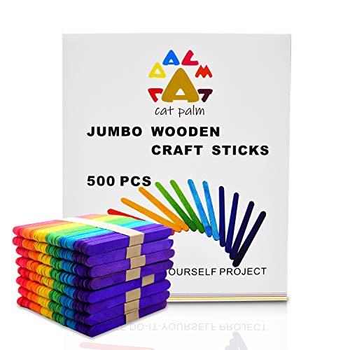 Catpalm Colored Jumbo Wood Craft Sticks for Handicraft Model Making Decorations, 6