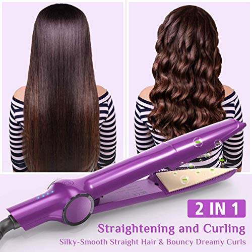 Bvian 2 in 1 Hair Straightener and Curler, Professional Hair Straightener Curling Iron Tourmaline Ceramic Twisted Flat with Dual Voltages and Adjustable Temperature for All Hair Types Styling Tools