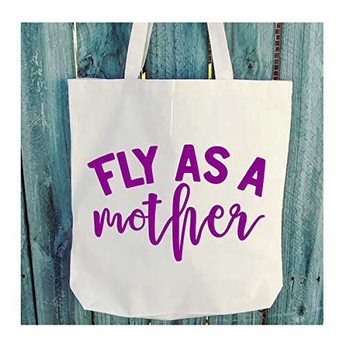 Fly As A Mother Tote - 6 oz Light Weight Natural Canvas - Choice of Print Color - WB206 by The Creative Adult