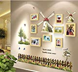TIANTA- Mediterranean Continental Windmill Solid Wood Frame Wall Combination Bedroom Photo Creative Children's Room Photo Wall adorn ( Color : #2 )