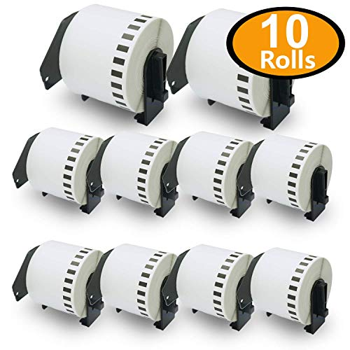 10 Rolls Brother-Compatible DK-4205 Removable Continuous Labels Black on White 62mm x 30.48M(2-3/7 x 100) With Refillable Cartridge