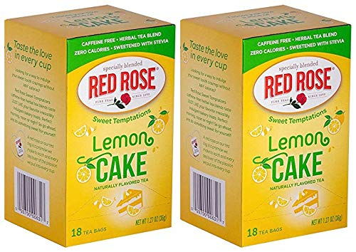 (Red Rose Sweet Temptations Lemon Cake Naturally Flavored Tea! Includes 18 tea Bags! Choose From A Two Pack or A Three Pack! Your Favorite Dessert As A Delicious Drink! (2 Pack))