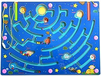 HappyToy Magnetic Laberinto de Madera Rompecabezas Laberinto Interactivo imán Cuentas Laberinto en Juego de Mesa Educativo Divertida artesanía Juguetes Puzzle (9 Planets Maze): Amazon.es: Juguetes y juegos
