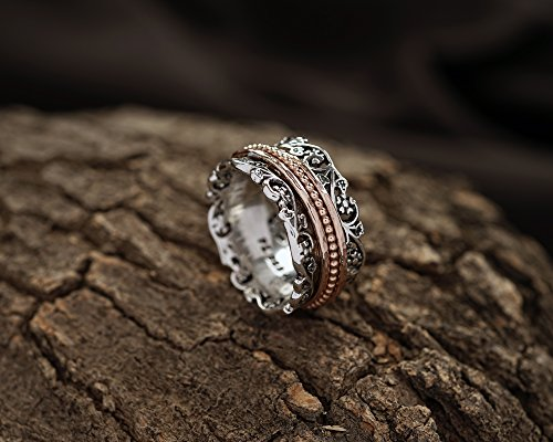 Paz Creations .925 Sterling Silver and Rose Gold over Silver Wide Spinner Ring (10), Made in Israel by PZ (Image #3)