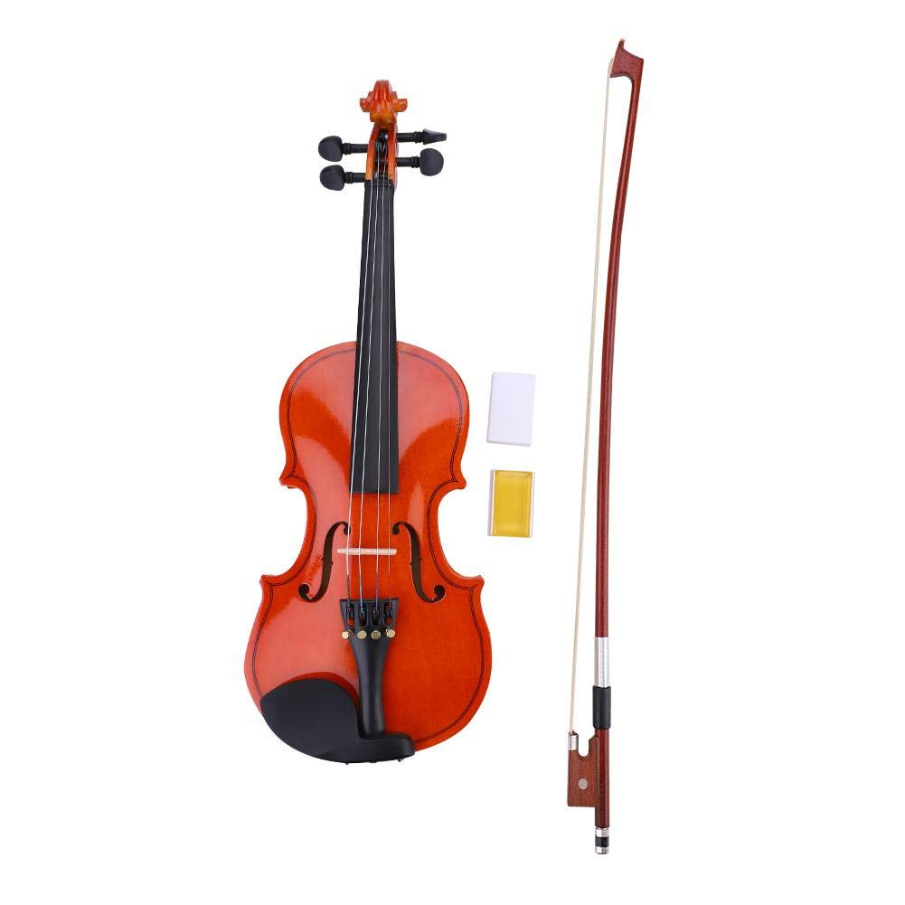 Tbest Violin Kit, 1/8 Musical Violin for Beginners Wood Color Basswood Kit with Bow + Lightweight Case + Colophony for Strings Instrument Beginners Music Lovers