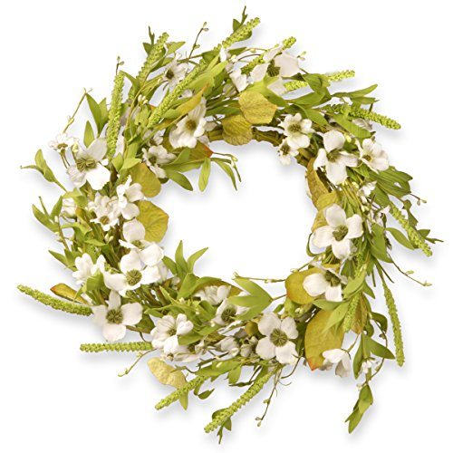 National Tree 22 Inch Floral Wreath with White Dogwood Flowers (RAS-JX14005)