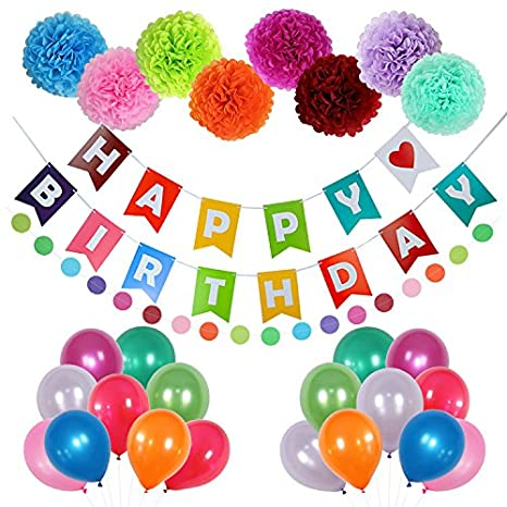 Happy Birthday Decorations Party Supplies 58 Pcs Birthday Party Decorations With Happy Birthday Banner Letters Latex Balloons Pompom Flowers