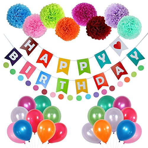 Happy Birthday Decorations Party Supplies - 58 pcs Birthday Party Decorations with Happy Birthday Banner Letters, Latex Balloons, Pompom Flowers, Paper Garland - Bring Happiness to You and Your Family]()