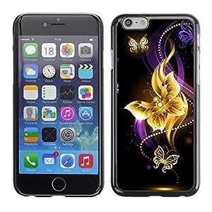 PC/Aluminum Funda Carcasa protectora para Apple Iphone 6 Plus 5.5 Butterfly Black Colorful Purple Fire / JUSTGO PHONE PROTECTOR