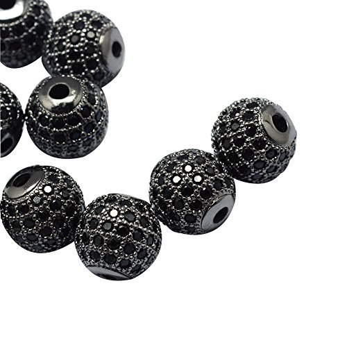 Round Gunmetal Beads - NBEADS 10PCS 8mm Rack Plating Brass Cubic Zirconia Round Gunmetal Beads Black Crystal Cubic Zirconia Round Beads Bracelet Connector Charms Beads for Jewelry Making