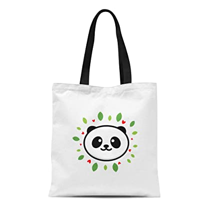 4890f9a416cf Amazon.com: Semtomn Canvas Tote Bag Shoulder Bags Cute Panda on ...