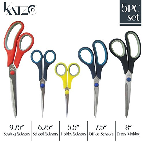 Katzco Stainless Steel Multi-Purpose Scissors Set - 5 Pieces Comfort Grip Scissors, For Fabric, Leather, Canvas, Vinyl, Paper, Clothes, Shoes, Kitchen, Arts and Crafts, School Supplies - By