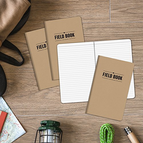 Field Notebook - 5''x8'' - Kraft - Lined Memo Book - Pack of 4 by Elan Publishing Company (Image #4)