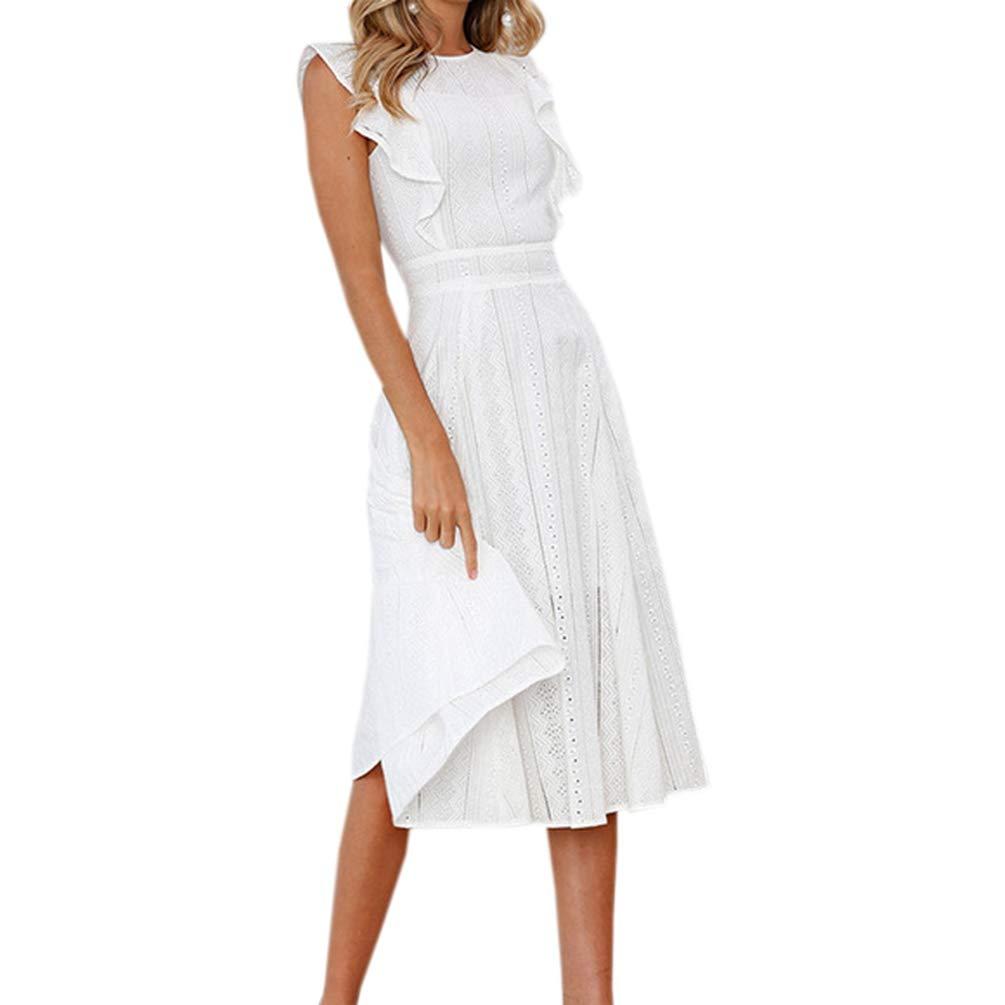 Womens Sommer A-line Spitze Weißes Kleid Boho Strand Midi Kleid Mädchen Süße Rüschen Sleeveless Lässige Party Sommerkleid