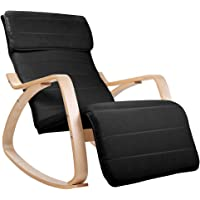 Birch Plywood Adjustable Rocking Lounge Arm Chair w/ Fabric Cushion Black