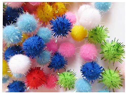 YYCRAFT 300pcs Pom Poms Glitter Poms Sparkle 10mm Balls Cat Toy for Kittens, Bulk Pack¨CAssorted Color