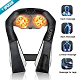 Back Massager with Heat, Shiatsu Deep Tissue Neck Massager with 3D Tissue Kneading for Neck, Back, Shoulders, Foot, Legs, Body - Muscles Relieve Electric Massager - Fit Home Office Car