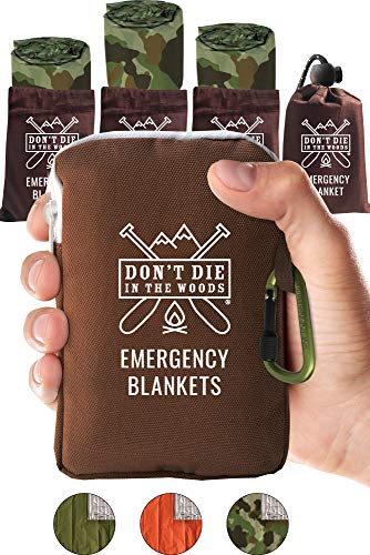 Dont Die In The Woods Worlds Toughest Emergency Blankets | 4 Pack Extra Large Thermal Mylar Foil Space Blanket for Hiking, Marathon Running, First Aid Kits, Outdoor Survival Gear | Camo