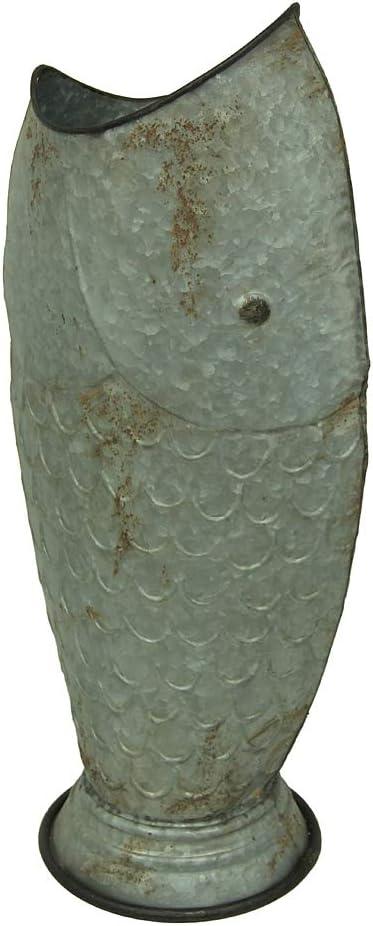 Zeckos Rustic Coastal Galvanized Metal Fish 25 Inch Tall Vase