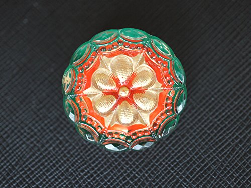 Glass Gold Buttons - Czech Glass Button, hand painted, Crystal Green-Red - Gold, size 12'', 27mm, 1pc