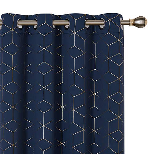 Deconovo Room Darkening Thermal Insulated Blackout Curtains Gold Diamond Foil