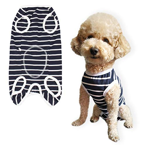 Due Felice Dog Professional Surgical Recovery Suit for Abdominal Wounds Skin Diseases, After Surgery Wear, E-Collar Alternative for Dogs, Home Indoor Pets Clothing Blue Stripe Size M