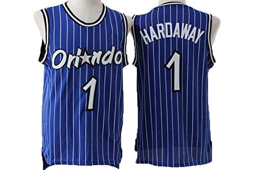 Mens Orlando Magic Anfernee Hardaway #1 Stripe Jersey Blue XL