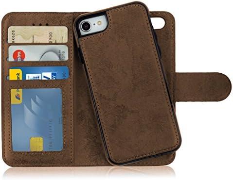 374bfb089d0 MyGadget Funda Flip Case con Tapa [2 en 1] para Apple iPhone 7/8 en Cuero  PU - Carcasa con Soporte y Cubierta Interna Magnética Separable - Café