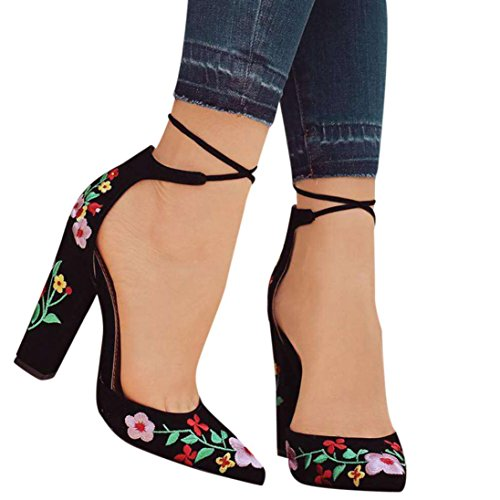 IGEMY Women Sandals, Women Wildflower Embroidery with Crude High-Heeled Pointed Toe Shoes Black