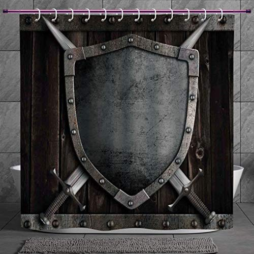 SCOCICI Unique Shower Curtain 2.0 [ Medieval,Medieval Shield and Crossed Swords on Wood Gate Safety Security Military Theme Art,Grey Brown ] Machine Washable,Shower Hooks are Included