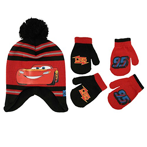 Disney Car Costume Toddlers (Disney Little Boys Cars Lightning McQueen Hat and 2 Pair Mittens or Gloves Cold Weather Accessory Set, Ages 2-7 (Toddler Boys Age 2-4 Hat & 2 Pair Mittens Set))