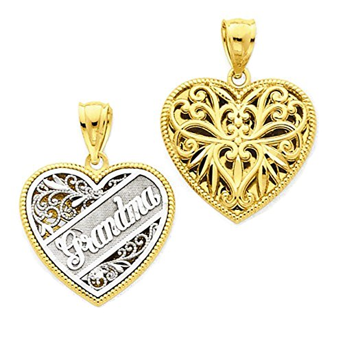 Reversible Grandma Heart Charm - 14k Gold Two Tone Grandma Heart Reversible Pendant Charm