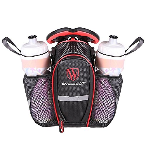 MOOZO Water Bottle Bag, Waterproof Rear Under Seat Bike Saddle Bag, Double Bottle Pouch Bicycle Tail Pocket with Reflective Strip for Mountain Road Bike Water Bottle/Repair Tools Kit (Black & Red)