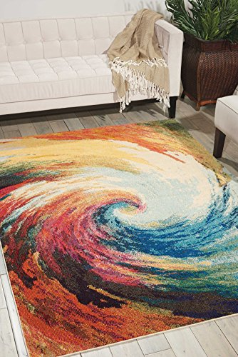 Nourison Celestial  Modern Bohemian Wave Multicolored Area Rug 7 feet 10 Inches by 10 Feet 6 Inches, 7'10