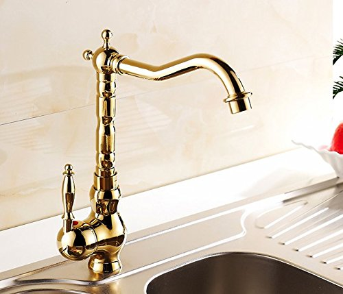 AWXJX European Style Gold Plated Basin Hot and Cold Bath Mixer Tap by AWXJX Sink faucet
