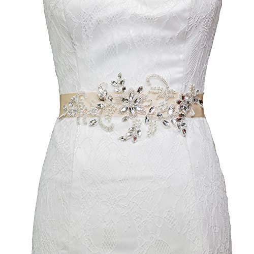 Azaleas Vintage Crystal Lace Applique Wedding Belt (Pink)