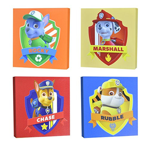 "Nickelodeon Paw Patrol Square Canvas Wall Art 11"" Toy (Pack of 4)"