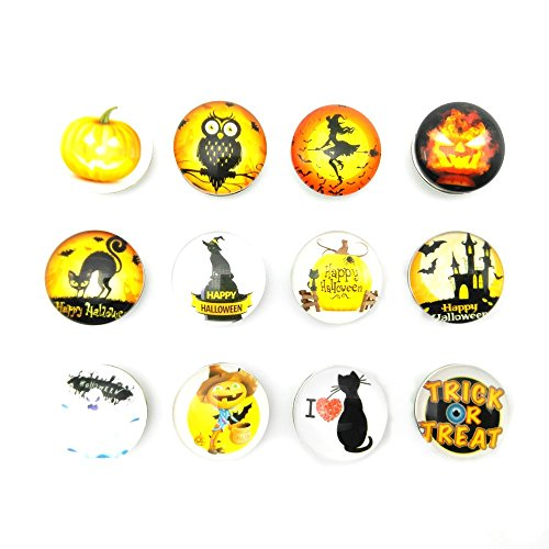 Lovglisten Newest Halloween Style 12pcs Glass Snap Jewelry Charms fit Snap Bracelet Necklace Making (halloweeen-12pcs) -