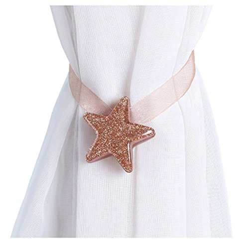 Joyci One Pair Star Magnetic Curtain Buckle Silk Holder Tiebacks Shining Curtain Buckle (Champagne - Gold Resin Ribbon