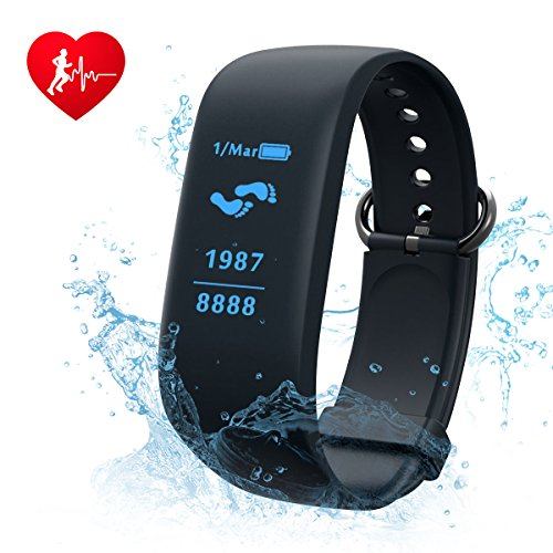 Fitness Tracker,CAMTOA Heart Rate Monitor/ Activity Tracker/Wristband Pedometer Smart Bracelet with Sleep Monitor,IPX7 Waterproof With SOS/GPS/Calories Burned/Sleep Tracking/Text Alerts etc.