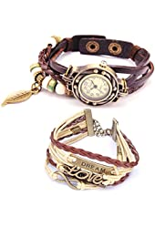 Belle (TM) Strap Weaved Beads Leather Bracelet Wrist Watch Dark Brown + Girls Charms Leather Weave + Bag