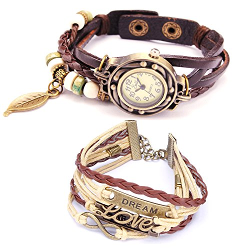 Belle (TM) Strap Weaved Beads Leather Bracelet Wrist Watch Dark Brown  Girls Charms Leather Weave  Bag
