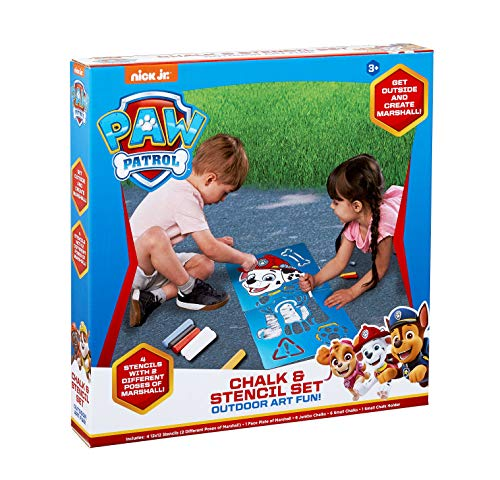 Little Kids Paw Patrol Marshall Chalk & Stencil Set Includes 12Piece of Chalk & Chalk Holders ()