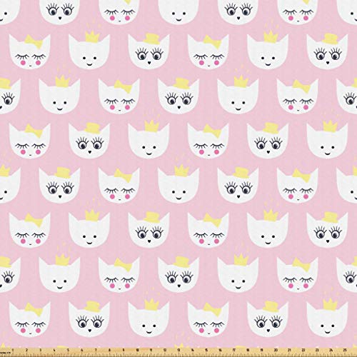 Lunarable Cat Fabric by The Yard, Princess Kitty Baby Girlish Pattern with Crown and Hat Teenage Years Art Print, Microfiber Fabric for Arts and Crafts Textiles & Decor, 10 Yards, Pale Pink White