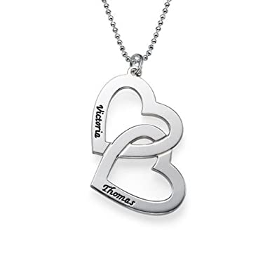 Personalised Heart in Heart Necklace - Personalised with 2 Names! 6koR17I