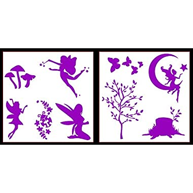Auto Vynamics - STICKERPACK-FAERIESET01-10-GPUR - Gloss Purple Vinyl Detailed Woodland Fairy / Faerie Sticker Pack - Multiple Faeries w/ Trees & Butterflies & More! - 10-by-10-inch Sheets - (2) Piece Kit - Themed Set