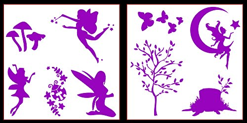 Faerie Made Natural - Auto Vynamics - STICKERPACK-FAERIESET01-10-GPUR - Gloss Purple Vinyl Detailed Woodland Fairy / Faerie Sticker Pack - Multiple Faeries w/ Trees & Butterflies & More! - 10-by-10-inch Sheets - (2) Piece Kit - Themed Set