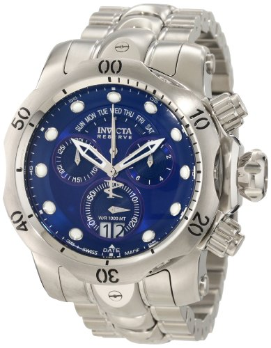 Invicta Men's 1538 Reserve Venom Chronograph Blue Dial Stainless Steel Watch